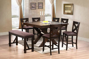 Best Price! Brand New! Counter table W/ 4 chairs and a bench