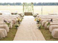 Hessian Burlap Fabric Sacks Hay Bales for Barn or Outdoor Wedding