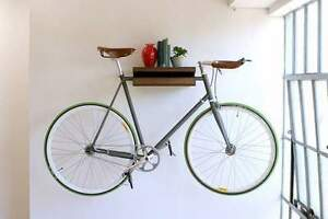Bike Shelf solid Oak handmade road fixie interior design