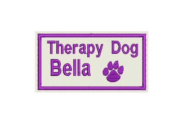 One Custom Embroidered Name Therapy Dog - Sew on or Iron on- Personalize