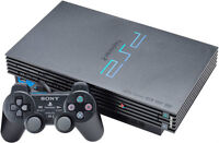 PLAYSTATION 2 SYSTEM BLACK WITH GAMES & CONTROLLERS