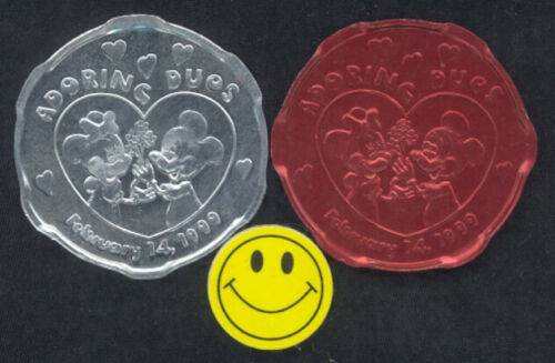 1999 DISNEY Mickey Mouse & Minnie Mouse ( Set of 2 ) Mardi Gras Doubloons Tokens