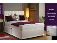 SAME/NEXT DAY DELIVERY- SMALL DOUBLE OR STANDARD DOUBLE DIVAN BASE WITH 1000 POCKET SPRUNG MATTRESS