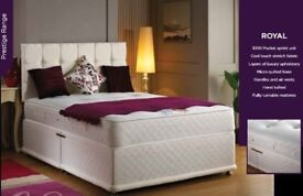 SAME DAY DROP -- BRAND NEW DOUBLE STRONG DIVAN BASE WITH 1000 OR 20000 POCKET SPRUNG MATTRESS -