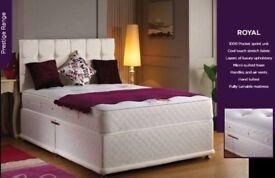 💖🔥Black White & Cream Colour🔥Brand New Double/King Divan Bed w 10 inch Super Orthopaedic Mattress