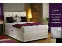 🔵💖🔴EXCITING OFFER🔵💖🔴DOUBLE DIVAN BED + DEEP QUILT MATTRESS & HEADBOARD /DRAWERS OPTION