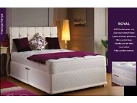 """BRAND NEW !! 4FT6 DOUBLE 4FT SMALL DOUBLE DIVAN BASE WITH 10"""" THICK WHITE ORTHOPEDIC MATTRESS --"""