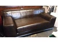 Ikea brown leather sofa