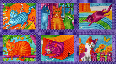 """Moda FABRIC Quilt Panel ~ PRISMA CATS  ~ by Ingrid Slyder  24""""X 45"""" for sale  Shipping to India"""