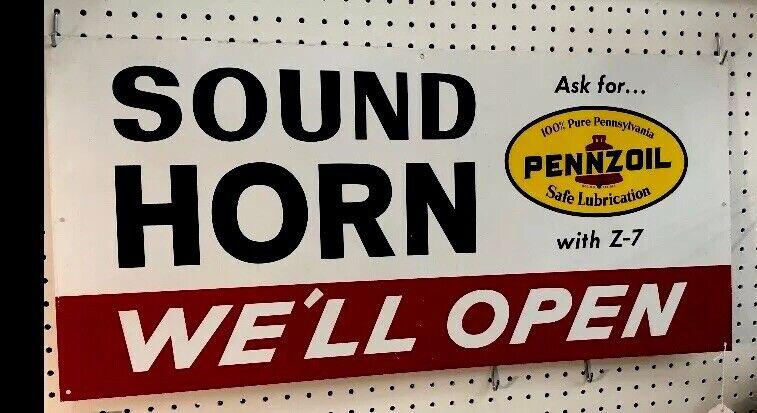 """METAL SIGN PENNZOIL *Sound  Horn , 15"""" X 32"""" A-M 7-71 MAN CAVE (NOS)"""