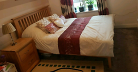 Immaculate Condition Guest Double Bed Solid Wood, Mattress, Bed table