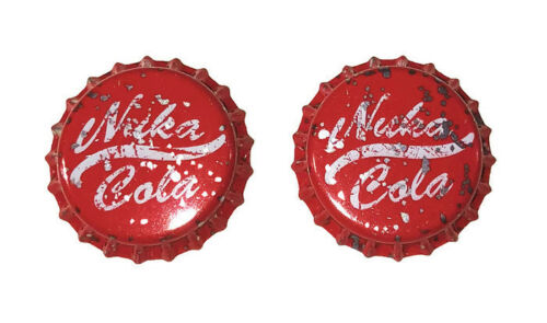 Fallout Bethesda Authentic Licensed NUKA COLA Metal Bottle CAPS *Set of 2* New