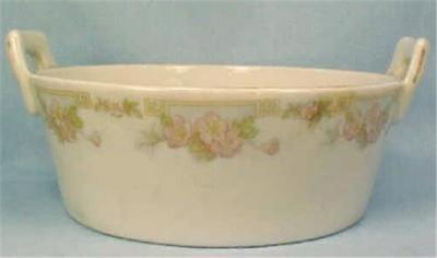 Antique Butter Tub Buffalo China Dish Pink Flowers White Porcelain Ice Insert Bath Porcelain Insert