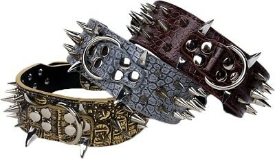 SHARP RAZOR Metal Spikes Studded Rivets PU Leather Dog Collar Black Grey Brown L