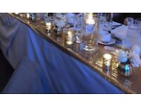 Complete set of 8 gorgeous gold sequin table runners/cloths for wedding/party