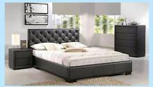 new PU LEATHER QUEEN / DOUBLE black bed 30 MONTH NO INTEREST Bundall Gold Coast City Preview
