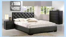 NEW TIFFANY BLACK PU LEATHER BED (BEDROOM) payment plans Southport Gold Coast City Preview