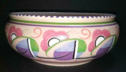 Fun Poole Pottery Large Bowl ~ Pink with Wild Graphics ~ Very Deco Looking