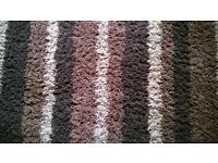 Shaggy pile brown stripe rug 170cm x120cm