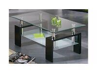 Modern Rectangle Glass & Chrome Living Room Coffee Table With Lower Shelf.