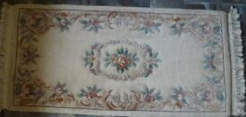 Hearth rug - cream background with pink, brown and green floral pattern