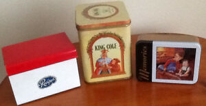 VINTAGE TINS, WOODEN JARS $5-$15 Also TOLE PAINTED CAN  VINTAGE