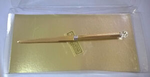 Brand New Gold Plated on Solid Brass Crystal Ball Letter Opener