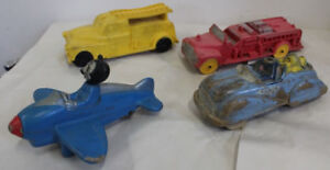 Old Toys Auburn Viceroy Rubber Toy Trucks & Mickey Donald Duck