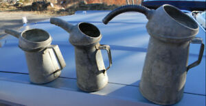 ANTIQUE GALVANIZED METAL OIL CANS TINS WITH SPOUTS FROM 1920'S