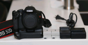 Canon T2i with battery grip, 6 batteries and 2 chargers