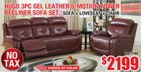 Hugo 3pc Gel Leather Recliner Sofa Set, $2199 Tax Included!