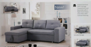New! Sec. Sofa Bed with Storage available in Grey and Black