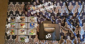 N64 console, controller and games