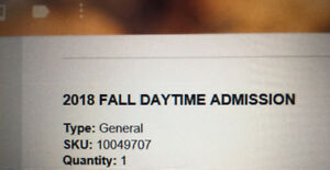 2018 Fall Daytime Admissions Ticket! (All Inclusive)