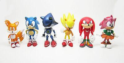 6pcs The HEDGEHOG Super Sonic Characters PVC Figure Loose Kid Toy Gift