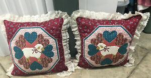 Adorable pair of laced lamb accent pillows