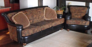 Couch and Chair with Leather Accents