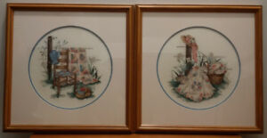 (2) Lovely Cross Stitch Wall Art
