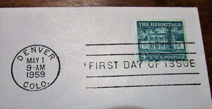 1959 'The Hermitage' & Andrew Jackson 4½ Cent First Day Cover Kitchener / Waterloo Kitchener Area image 2