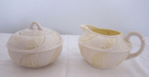 Delicate Belleek Porcelain, cream & sugar, 2nd Green Mark