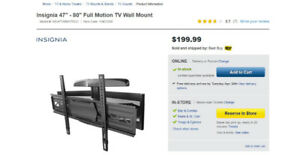 "Full Motion Insignia TV Wall Mount (47-80"")"