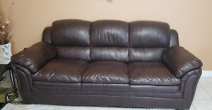 2 Sofas - Bonded Leather Dark Brown Color - Kept Very Clean