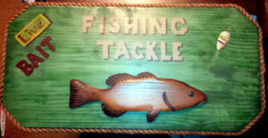 "HAND CARVED  FISHING SIGN,,   24"" X 12"" Cambridge Kitchener Area image 1"