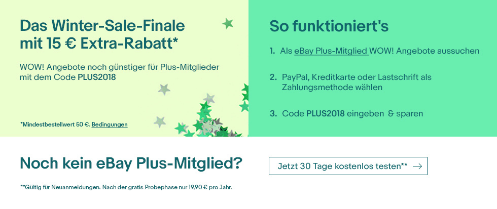 15 Euro Rabatt für ebay Plus-Mitglieder