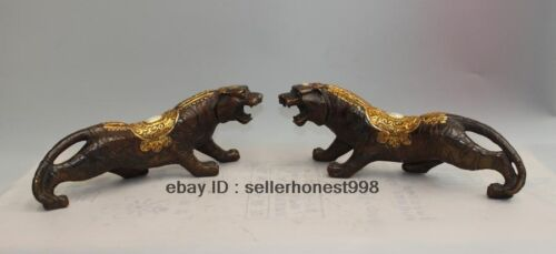 China FengShui Bronze Gilt Attract Wealth Coin Tiger Statue Sculpture Pair