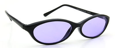 Oval Black Sunglasses Men Women Retro Vintage Fashion Purple Lens Trendy Fashion ()