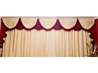 Beautiful Swags/Tails with full length lined curtains in Rich Burgundy