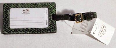Coach Green Snake Skin Print Embossed Luggage Tag NWT's F67039  -