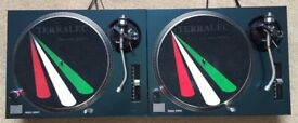 2 X Technics SL-1210 MK2 Turntables With Custom Chameleon Covers
