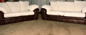 3+2 Seater Beige And Brown Sofas. Local delivery available